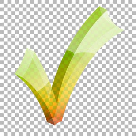 3D Check Mark auf transparentem Hintergrund. Isoliert Vektor-Illustration Vektorgrafik