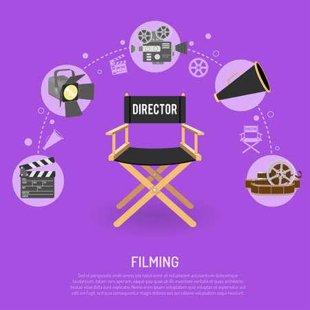 Kino i filmowanie koncepcji płaskie ikony rolek, dyrektor krzesło, megafon, Klaps, izolowane ilustracji wektorowych