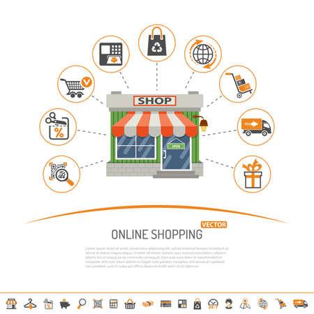 concepto de compras en línea de Internet con dos colores e iconos de pantalla plana conjunto para la comercialización y la publicidad de negocios con la tienda, la entrega, la venta y bienes. ilustración vectorial aislado