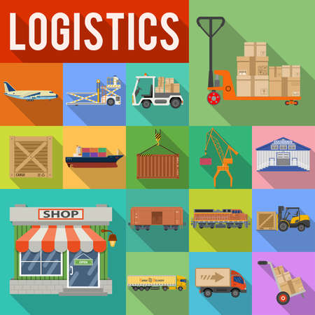 Cargo Transport, Packaging, shipping, delivery and logistics flat Icons Set. Illustration