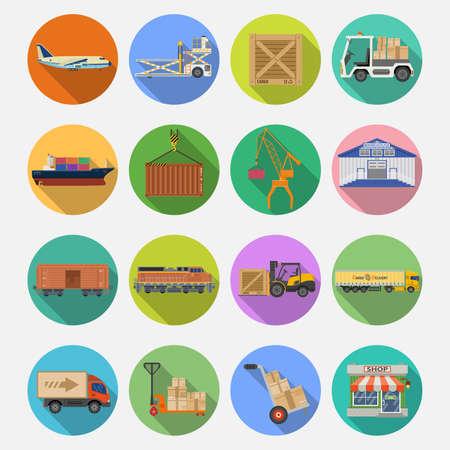 Cargo Transport, icônes emballage, l'expédition, la livraison et de logistique plats Set.