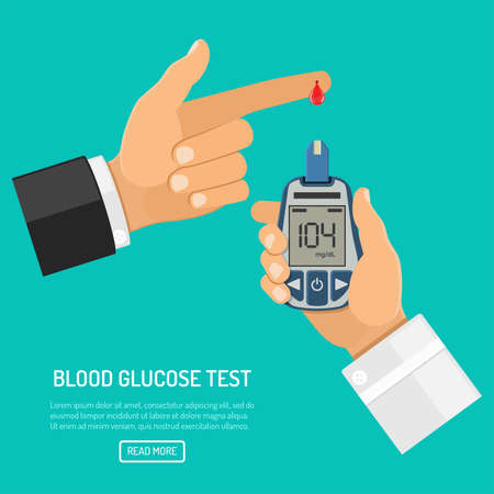 Doctor hand holds blood glucose meter and finger with blood drop. blood sugar level testing, treatment, monitoring and diagnosis of diabetes concept. Isolated vector illustration