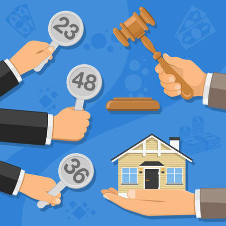 Auctions and bidding concept. Auctioneer holding gavel in hand, and buyers holding in hand bids. sale real estate at auction. icon in flat style. isolated vector illustration