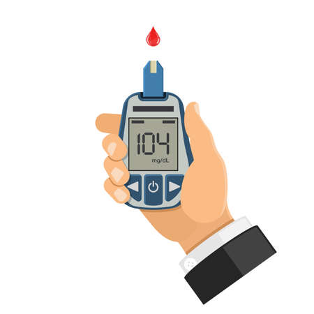 La mano sostiene el medidor de glucosa en sangre. Pruebas de nivel de azúcar en sangre, tratamiento, monitoreo y diagnóstico del concepto de diabetes. Icono en estilo plano. Ilustración vectorial aislado