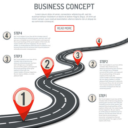 Business Concept with Progress Pointer on marking road. flat style icons. isolated vector illustration