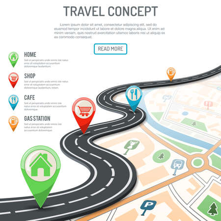 Travel and Navigation Concept with flat icons marking road, pointer and map. vector illustration Vector Illustration