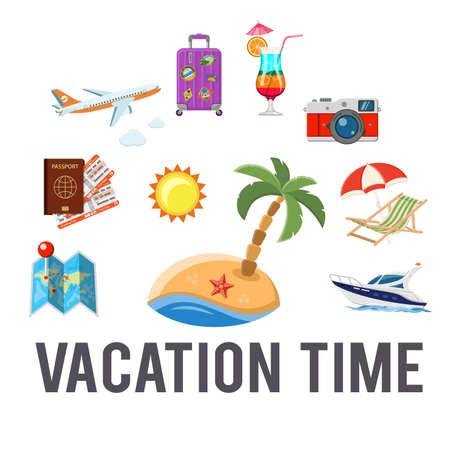 Vakantie en toerisme Concept met vlakke pictogrammen zoals Vliegtuig, paspoort, tickets, eiland en boot. Geïsoleerde vector illustratie