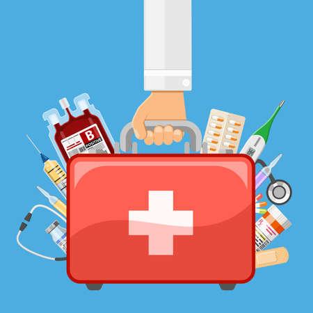 Docteur détient en main une trousse de premiers soins avec des médicaments. icônes de style plat. illustration vectorielle isolé