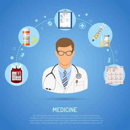 Medical concept with flat icons doctor, prescription, stethoscope, syringe, cardiogram, blood container. isolated vector illustration