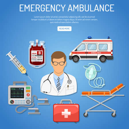 Medical emergency ambulance concept with flat icons doctor, blood container, defibrillator, stretcher. isolated vector illustration Illustration