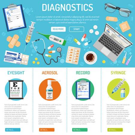 Infografía y banner médico, sanitario y de diagnóstico con iconos planos como vista, tratamiento de salud, registro, prescripción. ilustración vectorial aislada