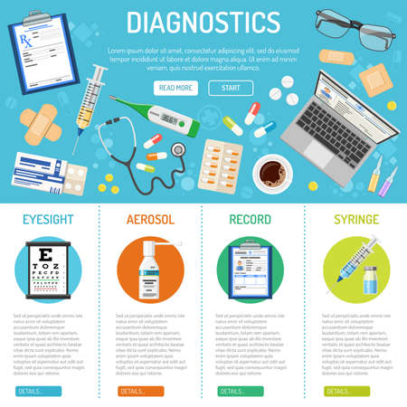 Medical, healthcare and diagnostics banner and infographics with flat icons like eyesight, health treatment, record, prescription. isolated vector illustration Illustration