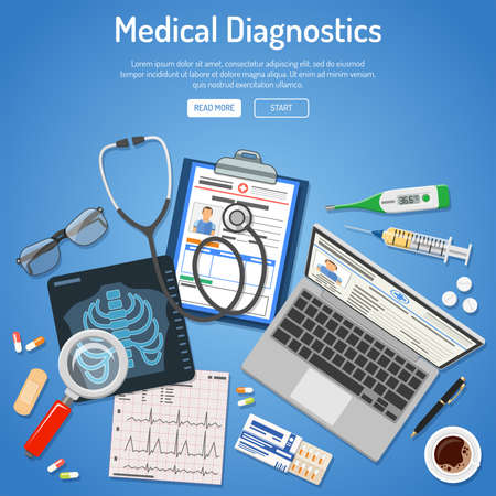 Doctors workplace and Medical diagnostics concept with flat icons laptop, x-ray, medical record, cardiogram, syringe. isolated vector illustration Illustration