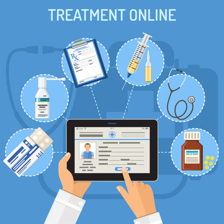 Treatment online concept with flat icons doctor hands with tablet pc and prescription, stethoscope, pills. isolated vector illustration