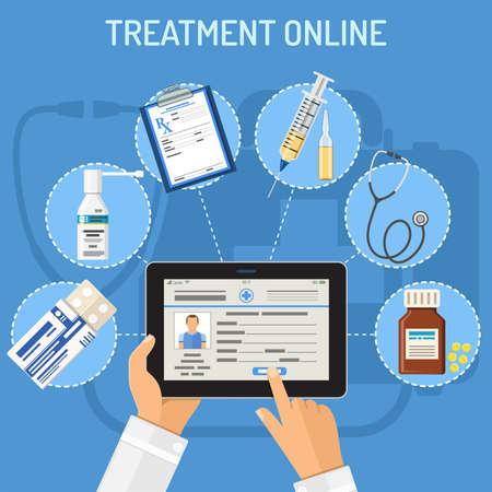Concepto en línea de tratamiento con iconos planos médico manos con tablet pc y prescripción, estetoscopio, pastillas. Ilustración de vector aislado