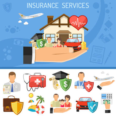 Insurance Services Concept. Man holding in hand flat icons House, Car, Medical, Travel and Family insurance. Isolated vector illustration Vector Illustration