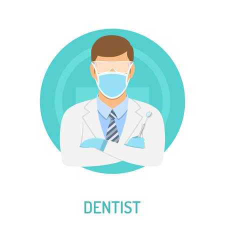 Medical concept with dentist character and dental mirror flat icons. isolated vector illustration
