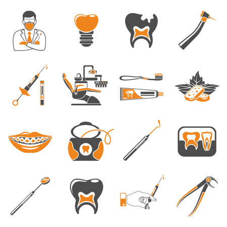 Set Dental Services and Stomatology two color icons in flat style. Doctor, dentist chair, braces, x-ray, cartridge syringe, carpula and implant. Isolated vector illustration