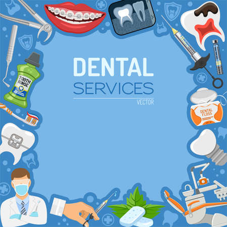 Usługi stomatologiczne Stomatologia Sztandar higieniczny i rama z płaskim ikony fotel dentysty, szelki, x-ray, strzykawki, implant, narzędzia dentystyczne i płukanie zębów. izolowane ilustracji wektorowych Ilustracje wektorowe