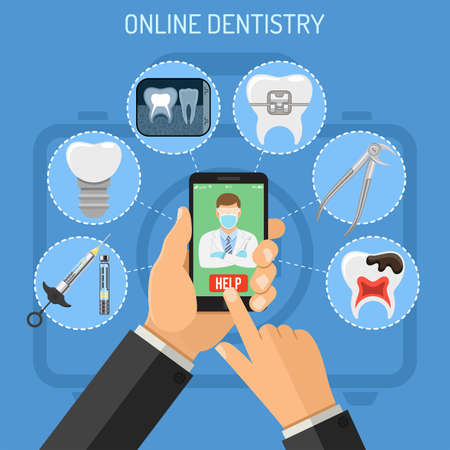 Online dentistry concept with flat icons hands, smartphone, dentist, braces, cartridge syringe, x-ray and implant. vector illustration