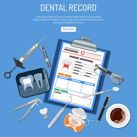 Medical Dental record concept with flat icons card of patient, cartridge syringe, x-ray and dental tools. isolated vector illustration Vectores