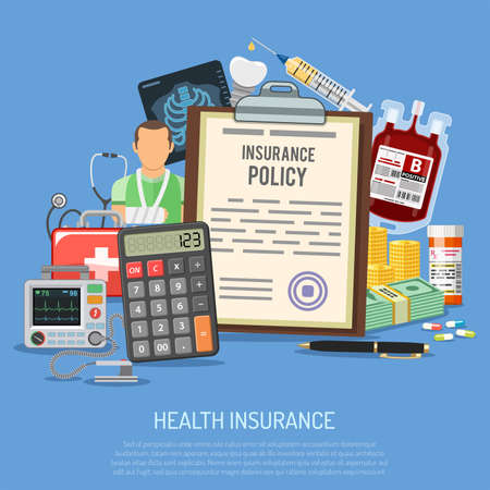 Health Insurance Services Concept with flat icons Insurance Policy, Calculator, Medicines and Money. Isolated vector illustration