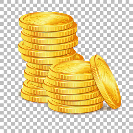 Concept Success in Business with Stack of Gold Coins on transparent background. Isolated vector illustration