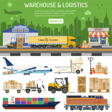 Warehouse, logistics banner and infographics with flat Icons shop, delivery, truck, cityline and forklift. isolated vector illustration