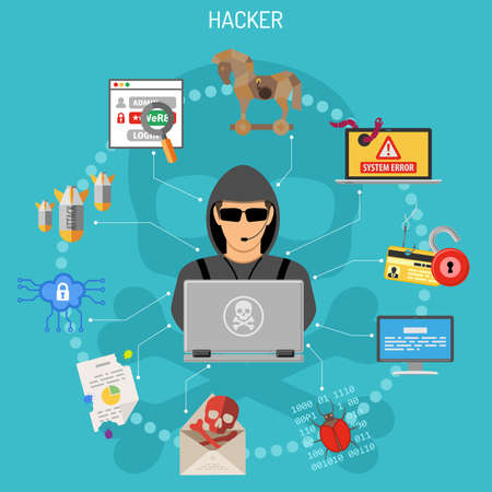 Cyber Crime Concept with Flat style icons like Hacker, Virus, Bug, Error, Spam and Social Engineering. vector illustration