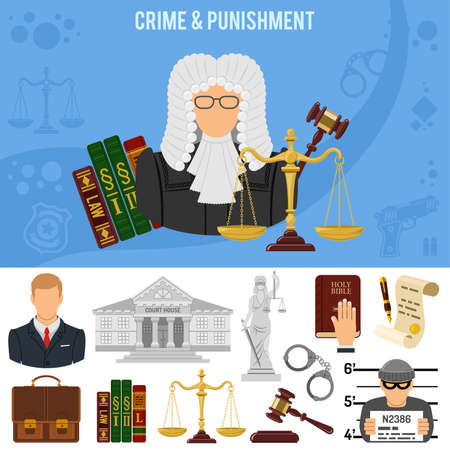 Crime and Punishment banner and infographics. Flat Style Icons Lawyer, Judge, Handcuffs and Court House. vector illustration