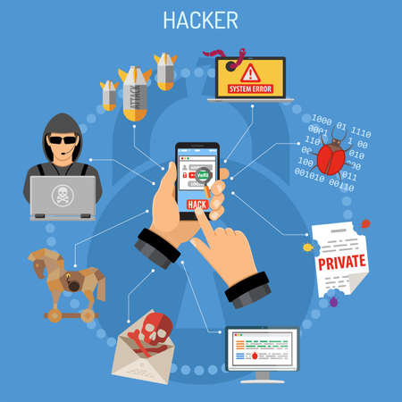 Cyber Crime Concept. Hacker holding smart phone in hand and hacks password. Flat style icons Hacker, Virus, Bug, Spam and Social Engineering. vector illustration Ilustração