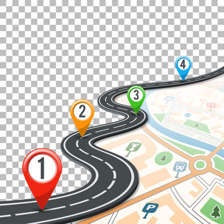 Business Concept with Timeline Road Infographics, Map and Pin Pointers on Transparent Background. Flat style icons. Isolated Vector Illustration  イラスト・ベクター素材
