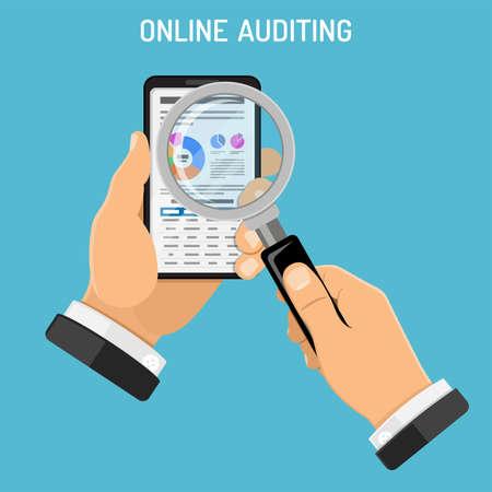 온라인 감사, 세금, 회계 개념. 감사관은 돋보기를 사용하여 스마트 폰을 손에 들고 스크린상의 차트로 재무 보고서를 확인합니다. 플랫 스타일 아이콘