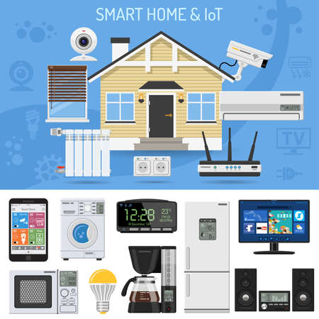 Smart Home And Internet Of Things Concept. Smartphone Controls Smart House  Like Security Cam,