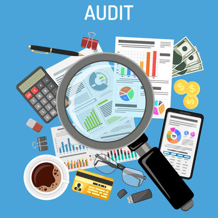 Auditing, Tax process calculation, Accounting concept. Magnifying glass checks financial report. Charts on documents and smartphone screens. Flat style icons. Isolated vector illustration.