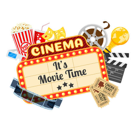 Cinema and Movie time concept with flat icons transparent film, popcorn, signboard, masks, award and tickets. Isolated vector illustration