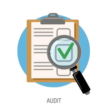 Audit en test platte icon set voor flyer, poster, website zoals test en vergrootglas. Geïsoleerde vector illustratie
