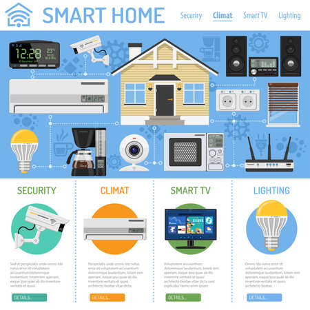 Smart Home and Internet of Things Infographics. Smart house controls devices like smart plug, climat, coffee maker, router, microwave and music center. Flat style icons. Vector illustration Banque d'images - 94367783