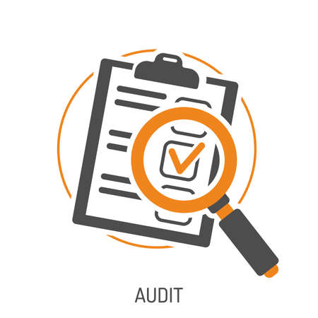 Audit en test platte icon set voor flyer, poster, website zoals test en vergrootglas. Geïsoleerde vector illustratie Stockfoto - 94367787