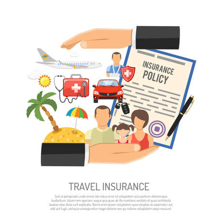 Travel Insurance Concept for Poster, Web Site, Advertising like Hand, Policy, Family, Aircraft and Medicine Chest. Flat style icons. Isolated vector illustration