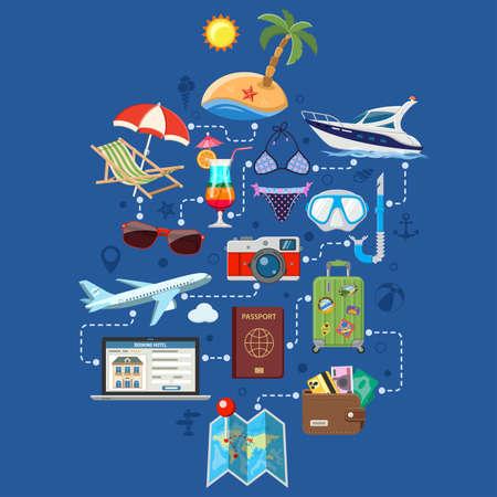 Vakantie en toerisme Infographics met vlakke pictogrammen Planning, boeking, bagage, reis, Cocktail, eiland, vliegtuigen en koffer. Stock Illustratie