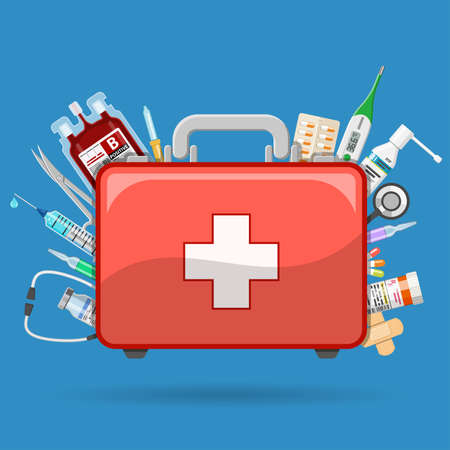 Medicine chest or first aid kit with medicines and medical tools. Flat style icons. Isolated vector illustration Ilustracja