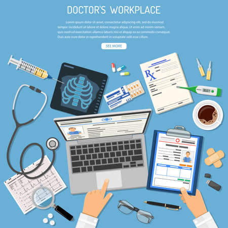 Doctors Workplace and Medical diagnostics concept with flat icons medic hands, laptop, x-ray, medical record, cardiogram, syringe. Isolated vector illustration
