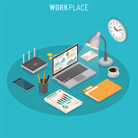 Business Workplace Isometric Concept with laptop, charts, router and smartphone isometric icons. Vector illustration