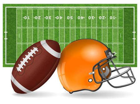American football field with realistic ball, helmet, line and grass texture vector illustration. Illustration