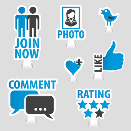 Set social media stickers with like, speech bubble, heart, join and bird icon vector illustration. Archivio Fotografico - 96134710