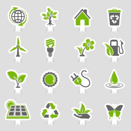 Collect environment icons sticker set with tree, leaf, light bulb, recycling symbol vector in two colors illustration. Ilustração