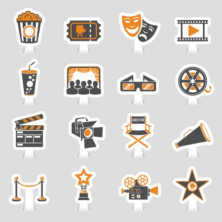 Cinema and movie two color sticker icons set with popcorn, award, clapperboard, tickets and 3D glasses vector illustration.