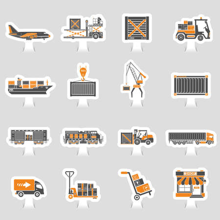 Cargo transport, packaging, shipping and logistics two color sticker icon set such as truck, air cargo, train, shipping vector illustration.