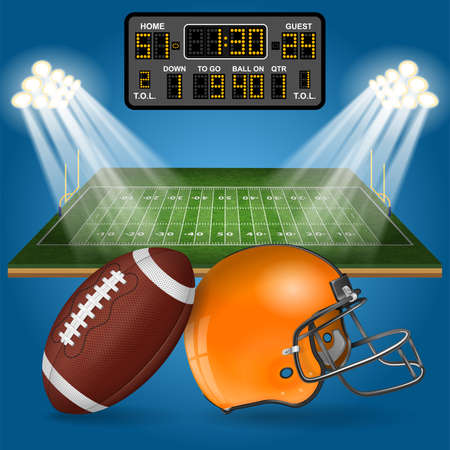 American football field with realistic ball, goal, helmet, scoreboard, line and grass texture vector illustration.